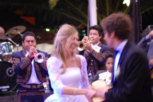 Bride, Groom, and Mariachi Band