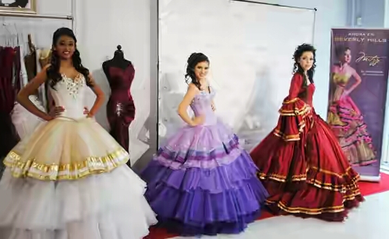Gorgeous girls in Quinceanera costumes